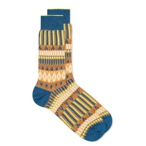 Mens Ayame Socks Basket Lunch Sock in Blue Multi