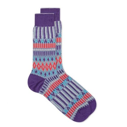 Mens Ayame Socks Basket Lunch Sock in Purple Multi