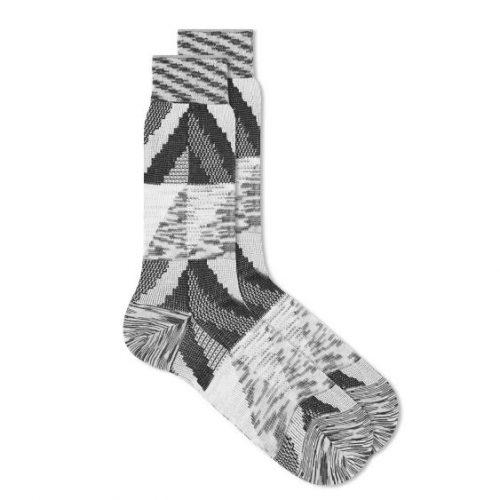 Mens Ayame Socks C53 Marble Yarn Sock in Black & White