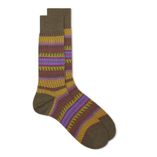 Mens Ayame Socks Winter Saw Edge Sock in Brown