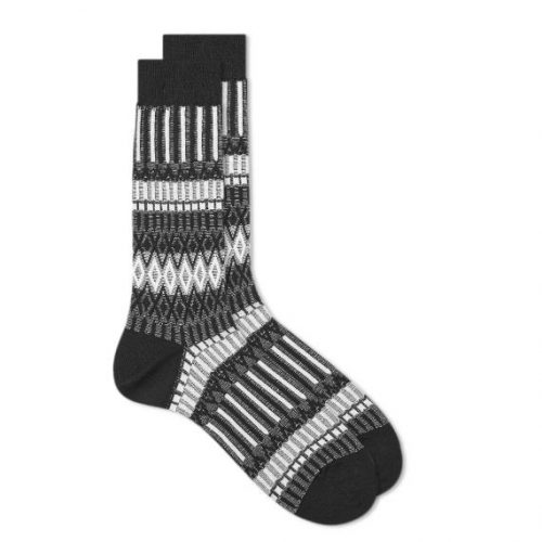 Mens Ayame Socks x C53 Basket Lunch Sock in Black & White