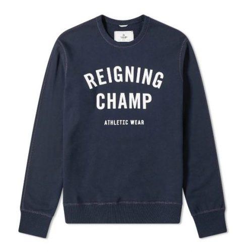 Mens Reigning Champ Gym Logo Crew Sweatshirt in Navy