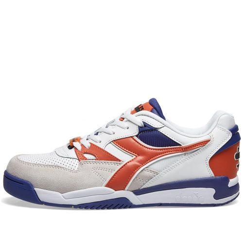 Mens Diadora Rebound Ace Beta Sneakers in White & Orange