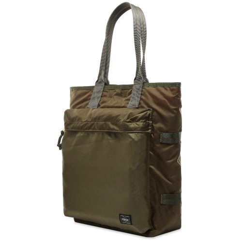 Mens Porter Yoshida & Co Tote Bag in Olive Green