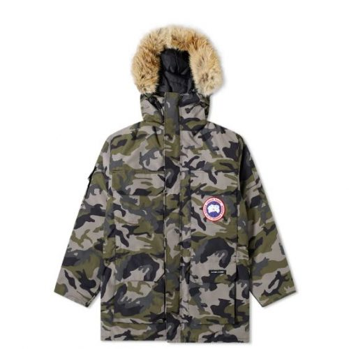 Mens Canada Goose Expedition Parka Jacket in Grey Camo