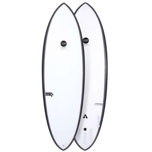 Mens Haydenshapes Hypto Krypto Future-Flex Futures 5'6 Surfboard with black circle branding in White