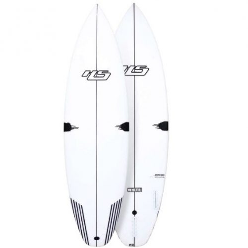 Mens Haydenshapes White Noiz PU / Comp Stringer Futures 5'11 Surfboard with model logo in White