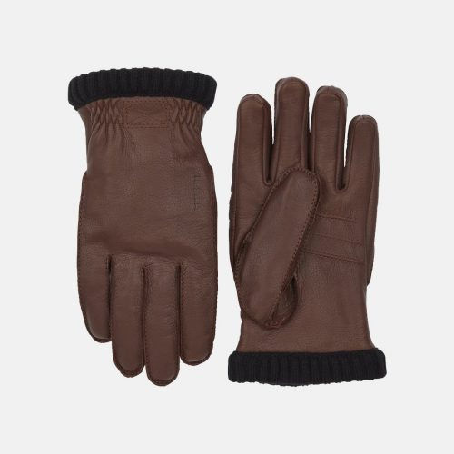Mens Hestra Deerskin Primaloft Rib Gloves in Chocolate