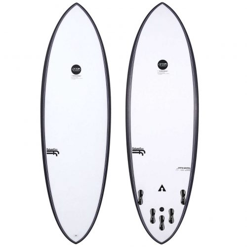 Mens Haydenshapes Hypto Krypto Future-Flex FCS 2 5'8 Surfboard with black circle branding in White