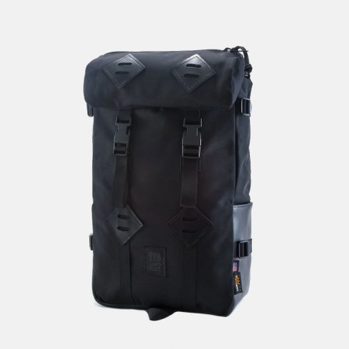 Mens Topo Designs Klettersack Backpack in Ballistic Black / Leather