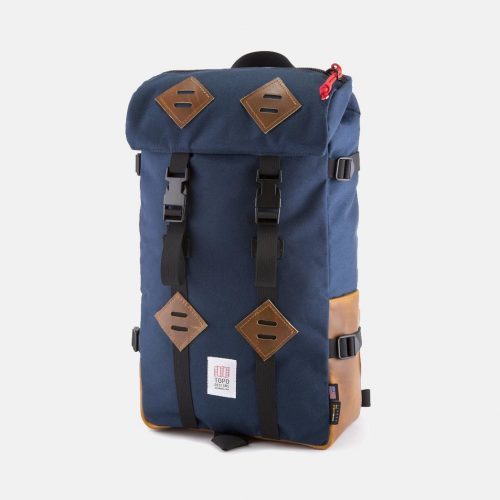 Mens Topo Designs Klettersack Backpack (Brown Leather) in Navy Blue