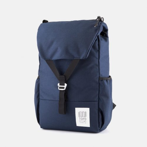 Mens Topo Designs Y-Pack Backpack in Navy Blue