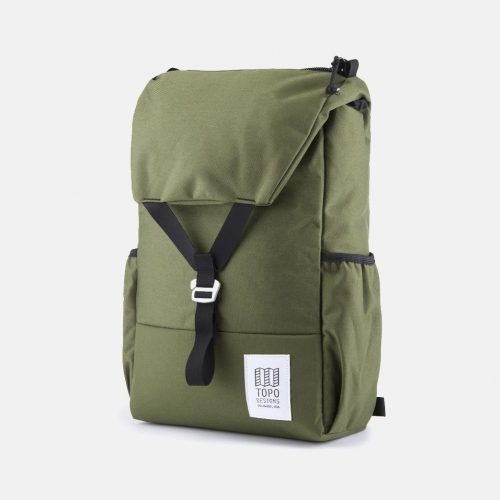 Mens Topo Designs Y-Pack Backpack in Olive Green