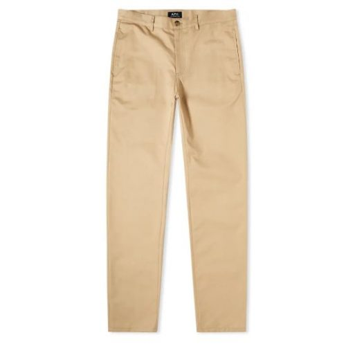 Mens A.P.C. Classic Chino Trousers in Beige Tan