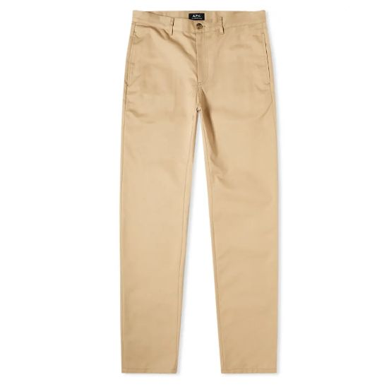 Mens A.P.C. Classic Chino Trousers in Beige Tan