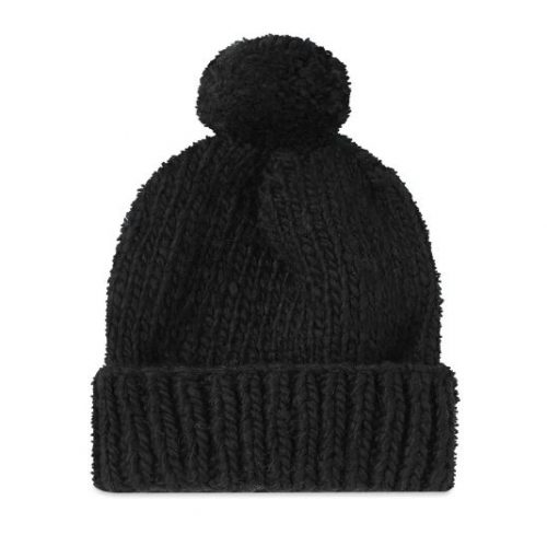 Mens Chamula Double Cuff Beanie in Black