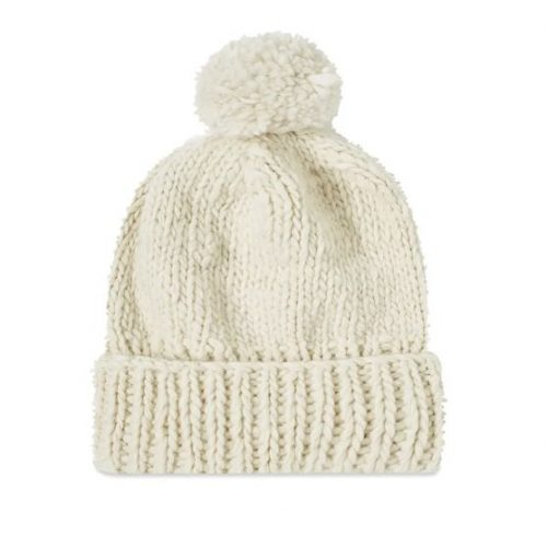 Mens Chamula Double Cuff Beanie in Ivory White