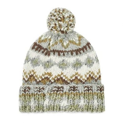 Mens Chamula Double Cuff Fair Isle Beanie in Pearl Grey