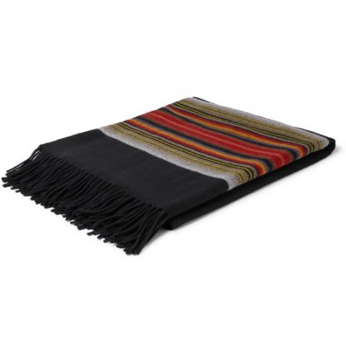 Mens Pendleton 5th Avenue Fringed Wool-jacquard Blanket in Multi