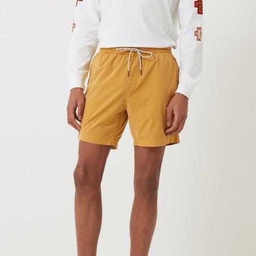 Mens Deus Ex Machina Sandbar Solid Garment Dye Swim Shorts in Gold