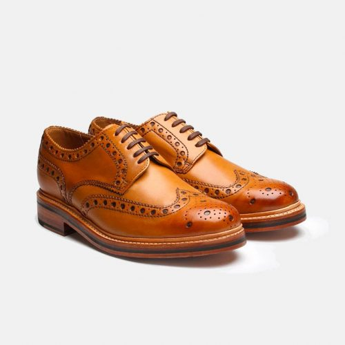 Mens Grenson Archie Brogue Shoes in Tan