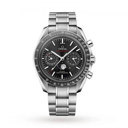 Mens Omega Speedmaster Moonwatch Co-Axial Moonphase 44.25mm Watch in BlackAxial Moonphase 44.25mm Me ...