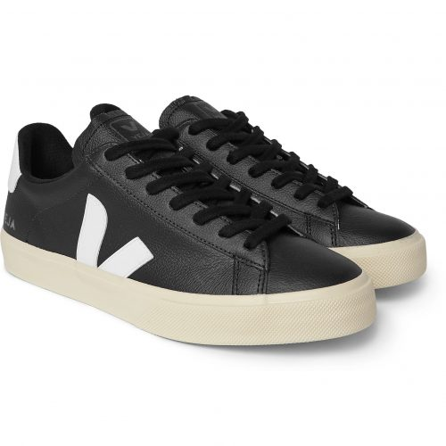 Mens Veja Campo Rubber-trimmed Full-grain Leather Sneakers in Black