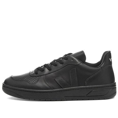 Mens Veja V-10 Leather Basketball Sneakers in All Black