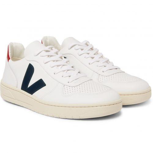 Mens Veja V-10 Rubber-trimmed Leather Sneakers in White & Black