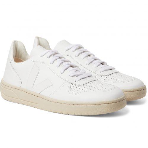 Mens Veja V-10 Rubber-trimmed Leather Sneakers in White