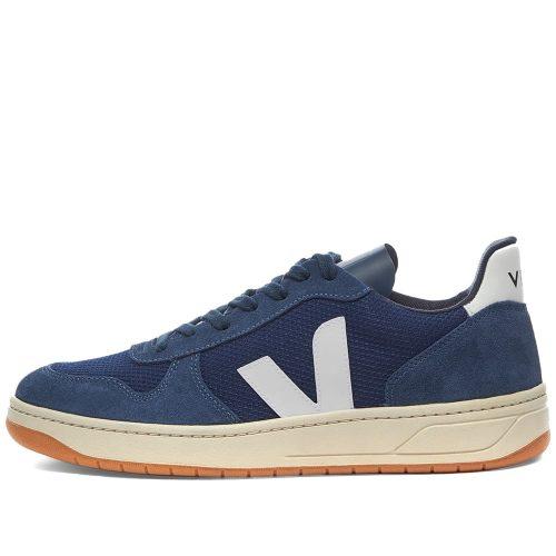 Mens Veja V-10 Suede & Mesh Basketball Sneakers in Blue