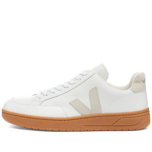 Mens Veja V-12 Leather Sneakers in White & Gum