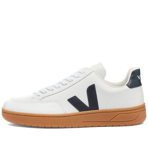 Mens Veja V-12 Leather Sneakers in White Gum & Navy