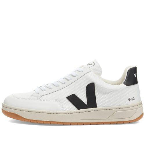 Mens Veja V-12 Mesh Sneakers in White & Navy
