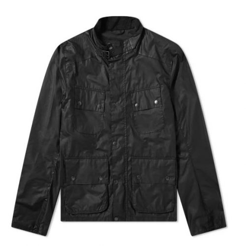 Mens Barbour International Alford Wax Jacket in Black