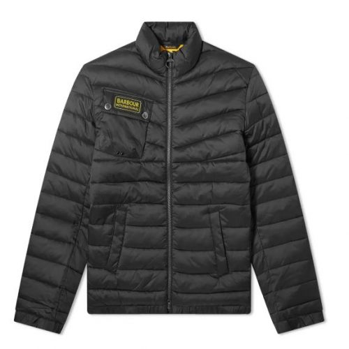 Mens Barbour International Chain Baffle Quilt Jacket in Black
