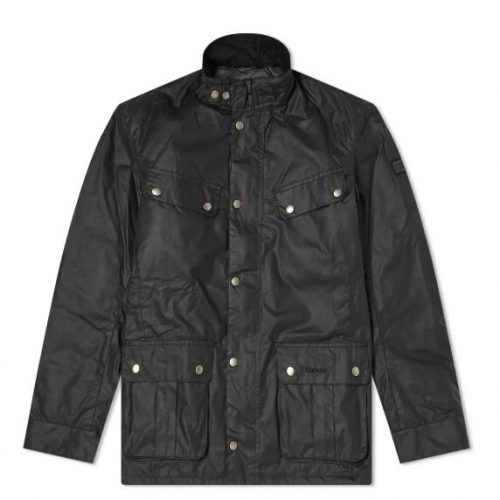 Mens Barbour International Duke Wax Jacket in Black