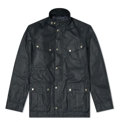 Mens Barbour International Duke Wax Jacket in Navy