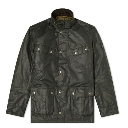 Mens Barbour International Duke Wax Jacket in Sage Green