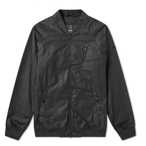 Mens Barbour International Glendale Wax Bomber Jacket in Black