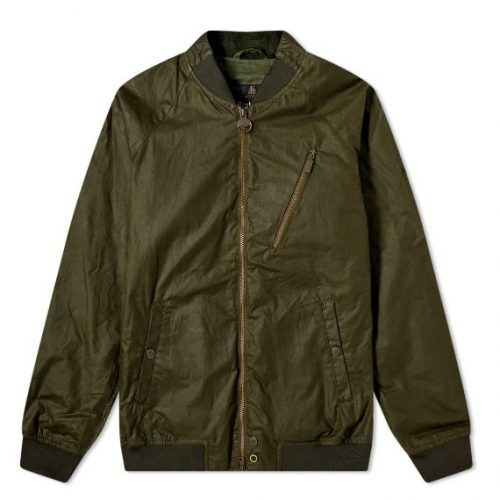 Mens Barbour International Glendale Wax Bomber Jacket in Olive Green