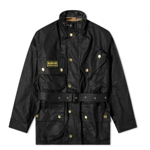 Mens Barbour International Original Wax Jacket in Black