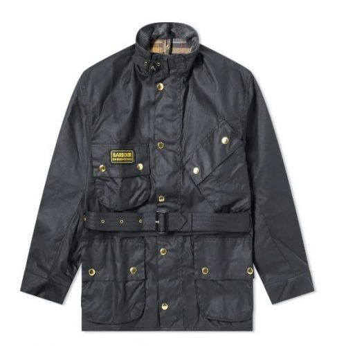 Mens Barbour International Original Wax Jacket in Navy Blue