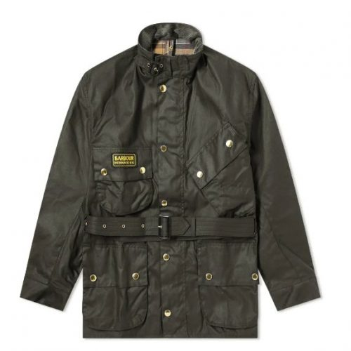 Mens Barbour International Original Wax Jacket in Sage Green