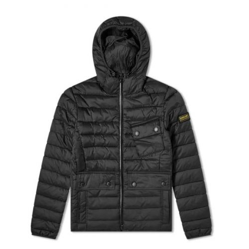 Mens Barbour International Ouston Hooded Quilt Jacket in Black