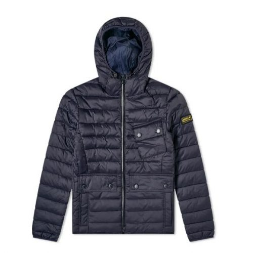 Mens Barbour International Ouston Hooded Quilt Jacket in Navy