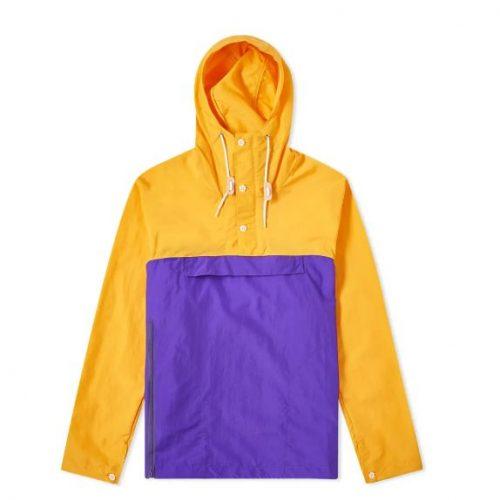Mens Battenwear Packable Anorak Jacket in Mango & Purple