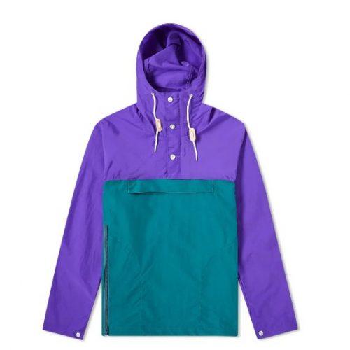 Mens Battenwear Packable Anorak Jacket in Purple & Teal