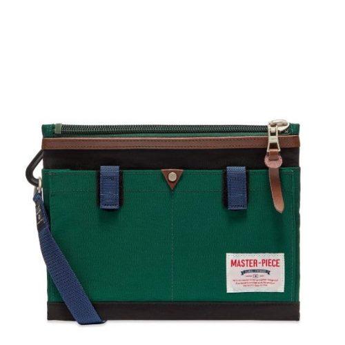 Mens Master-Piece Link Series Shoulder Bag in Green