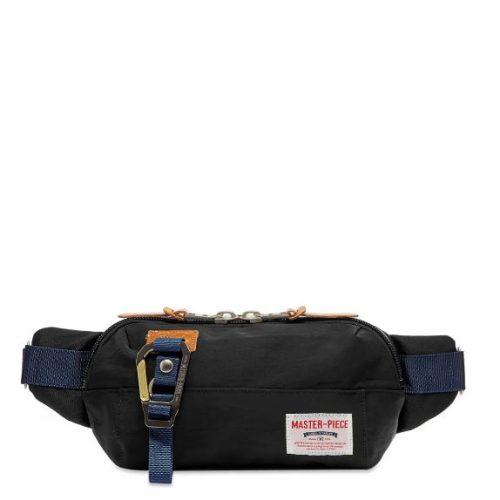 Mens Master-Piece Link Series Waist Bag in Black
